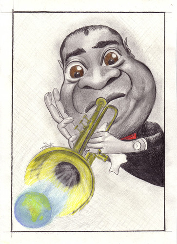 Cartoon: Louis Armstrong (medium) by Tomek tagged armstrong