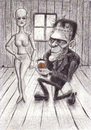 Cartoon: Losing my mind (small) by Tomek tagged frankenstein,monster