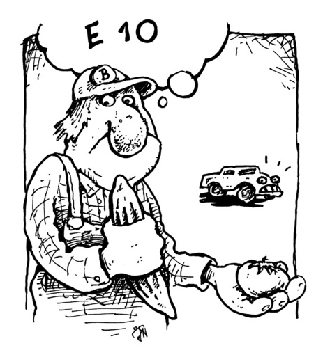 Cartoon: Ehec 10 (medium) by JP tagged ehec,e10,auto,tomate,gurke,bauer