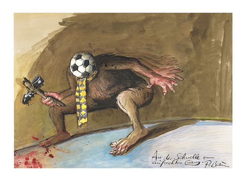 Cartoon: An der Schwelle z. aufr. Gang (medium) by Peter Bauer tagged gewalt,fan,krawalle,fußball