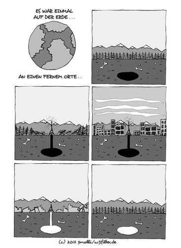 Cartoon: Men come - men go (medium) by smolli tagged pinepoint,canada,nature,polution,resources,earth,mankind,civilization,men