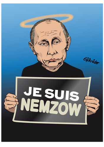 Cartoon: Je suis Nemzow (medium) by ESchröder tagged regimekritiker,purinkritiker,boris,nemzow,putin,ermordung,kreml,desinformation,gegenpropaganda,lügen,heiligenschein,geheimdienst,ukraine