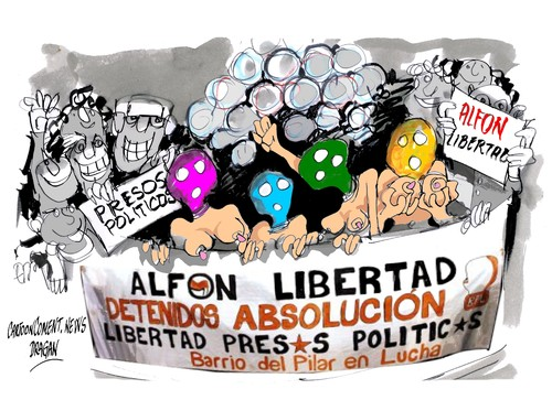 Cartoon: Alfon-Pussy Riot (medium) by Dragan tagged alfon,pussy,riot,madrid,libertad,presos,politics,cartoon