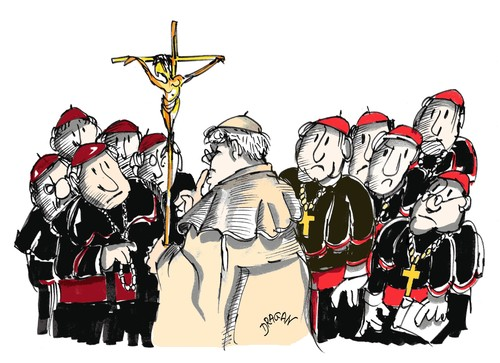 Cartoon: Benedicto XVI (medium) by Dragan tagged papa,benedicto,xvi,alemania,vaticano,conferencia,episcopal,alemana
