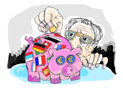 Cartoon: Jean Claude Trichet (medium) by Dragan tagged jean,claude,trichet,banco,central,europeo,politics,cartoon