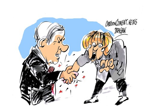 Cartoon: Merkel recibe a Netanyahu (medium) by Dragan tagged angela,merkel,benjamin,netanyahu,israel,alemania,palestina,politics,cartoon