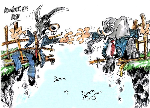 Cartoon: republicanos y democratas (medium) by Dragan tagged republicanos,democratas,senado,estados,unidos,barack,obama,abismo,fiscal,politics,cartoon