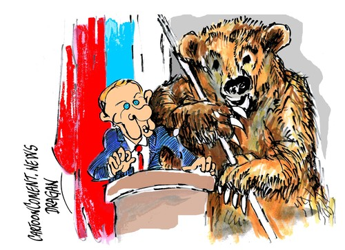 Cartoon: Vladimir Putin- fortalecimiento (medium) by Dragan tagged vladimir,putin,rusia,politics,cartoon