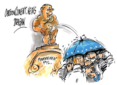 Cartoon: Vladimir Putin-Manneken Pis (medium) by Dragan tagged cartoon,politics,rusia,pis,manneken,putin,vladimir,rompuy,van,europea,union,bruselas