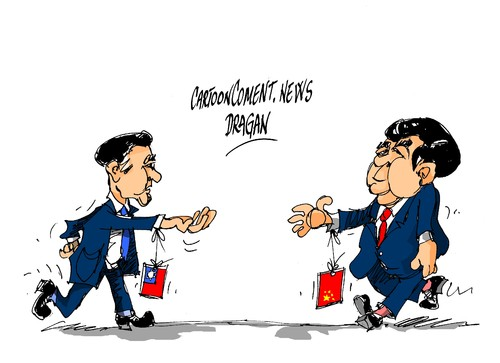 Cartoon: Xi Jinping-Ma Ying-jeou (medium) by Dragan tagged xi,jinping,ma,ying,jeou,china,taiwan,politics,cartoon