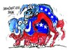 Cartoon: Republicanos-Democratas (small) by Dragan tagged republicanos,democratas,eeuu,barack,obama,mitt,romney,debate,elecciones,politics,cartoon