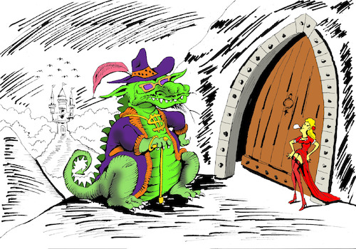 Cartoon: Dragon and the Princess... (medium) by berk-olgun tagged dragon,and,the,princess