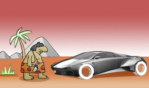 Cartoon: Invention of the wheel.. (medium) by berk-olgun tagged the,of,invention,wheel