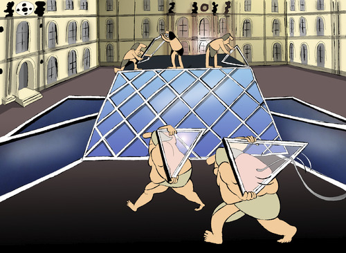 Cartoon: Louvre... (medium) by berk-olgun tagged louvre