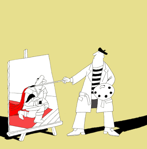 Cartoon: Painter and the Knight... (medium) by berk-olgun tagged painter,and,the,knight