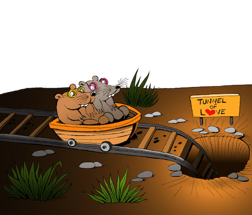 Cartoon: Tunnel of Love... (medium) by berk-olgun tagged tunnel,of,love