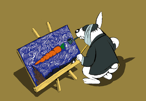 Cartoon: Vincent Rabbit Gogh... (medium) by berk-olgun tagged vincent,rabbit,gogh