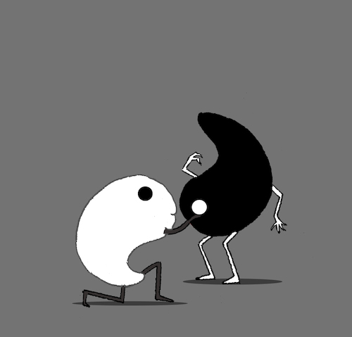 Cartoon: Yin Yang Marriage... (medium) by berk-olgun tagged yin,yang,marriage