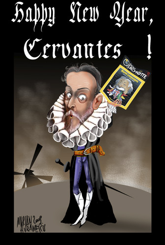 Cartoon: CERVANTES (medium) by Marian Avramescu tagged mmmmmmmmmm