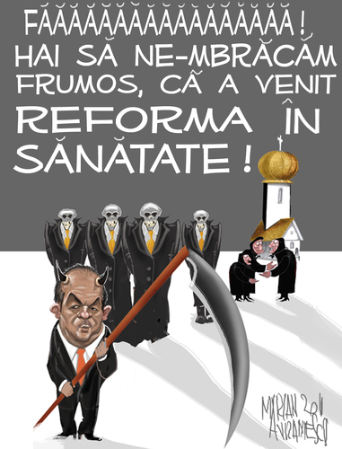 Cartoon: health reform in Romania (medium) by Marian Avramescu tagged mmmmmm