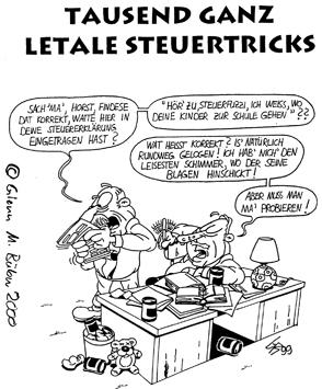Cartoon: Kowalewski Steuertricks (medium) by Glenn M Bülow tagged ruhrgebiet,steuerhinterziehung,steuererklärung,liechtenstein,finanzamt,steuertricks,steuer