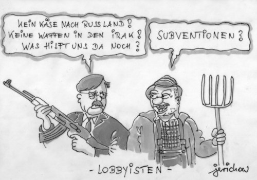 Cartoon: Lobbyisten (medium) by jerichow tagged brüssel,eu,kommission,agrarsubventionen,subventionen,steuergeldverschwendung,waffenlieferung,waffentransfer,irak,kalifat,isis,is,milan,kurden,pkk,nahostkonflikt,rebellen,brüssel,eu,kommission,agrarsubventionen,subventionen,steuergeldverschwendung,waffenlieferung,waffentransfer,irak,kalifat,isis,is,milan,kurden,pkk,nahostkonflikt,rebellen
