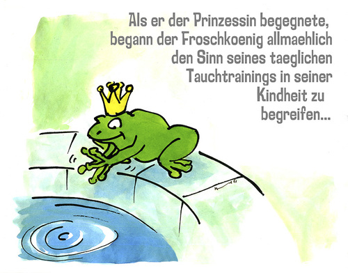 Cartoon: frosch könig (medium) by jenapaul tagged frosch,könig,märchen,humor