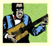 Cartoon: portrait of young bo diddley (small) by jenapaul tagged bo,diddley,rocknroll,music,50s,rock,guitarist