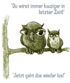 Cartoon: Uhus II (small) by jenapaul tagged uhus,eulen,tiere,wortwitz
