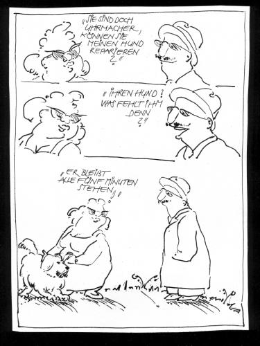 Cartoon: Uhrmacher (medium) by Kala tagged uhrmacher,hund