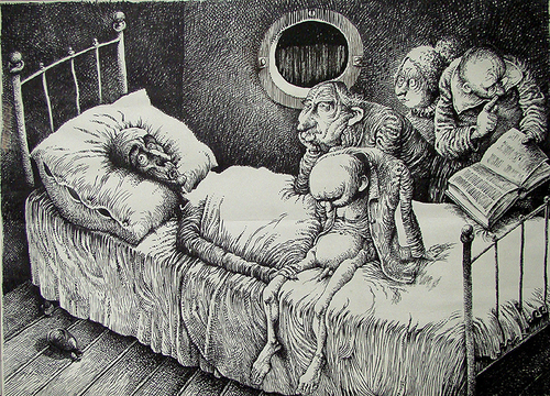 Cartoon: in bed (medium) by Wiejacki tagged family,krankenheit,healthcare,health