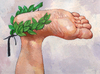 Cartoon: laurel wreath (small) by Wiejacki tagged succes,winer,apotheosis,foot,leg,body,proud