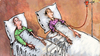 Cartoon: transfusion (small) by Wiejacki tagged health,politics,economy,costs,cutting