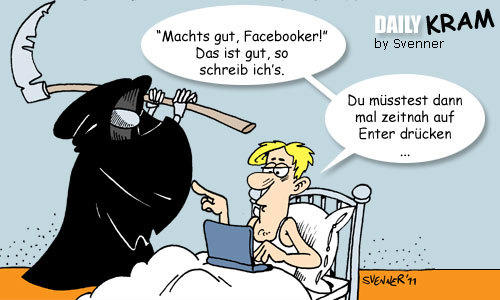 Cartoon: Finaler Facebook Status (medium) by svenner tagged daily,fun,facebook,sensenmann,gevatter
