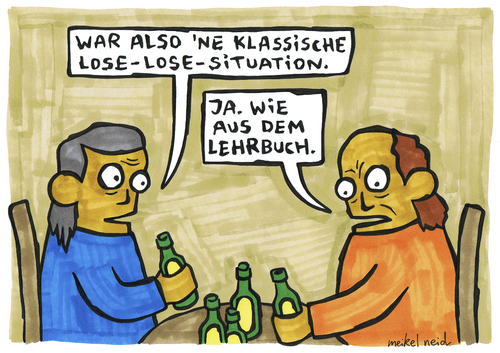 Cartoon: lose-lose (medium) by meikel neid tagged win,lose,gewinn,verlust,verlierer,kneipe,bier,strategie