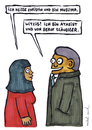 Cartoon: Christin (small) by meikel neid tagged christentum,islam,atheismus,glaube,gott,religion