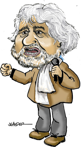 Cartoon: Beppe Grillo (medium) by jeander tagged italy,politics,government,beppe,grillo,italy,politics,government,beppe,grillo