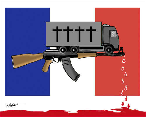 Cartoon: Terrorattack in Nice (medium) by jeander tagged terror,attack,terrorism,nice,france,truck,terror,attack,terrorism,nice,france,truck