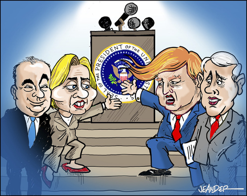 Cartoon: The canidates (medium) by jeander tagged hillary,clinton,donald,trump,tim,kaine,mike,pence,republican,democratic,president,vicepresodent,election,us,hillary,clinton,donald,trump,tim,kaine,mike,pence,republican,democratic,president,vicepresodent,election,us