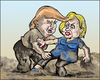 Cartoon: Mudwrestling (small) by jeander tagged election,usa,clinton,hillary,trump,donald,debate