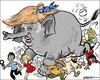 Cartoon: The bull in the china shop (small) by jeander tagged donald,trump,elephant,republican,party