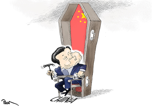 Cartoon: Life-time term in China (medium) by Popa tagged china,xijinping,president,limit,term,asia,leader