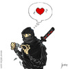 Cartoon: Ninja in love (small) by mseveri tagged ninja,in,love