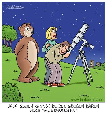 Cartoon: beobachtungen (medium) by pentrick tagged großer,bär,great,bear,telescope,fernrohr,beobachten,watch,tiere,animals,