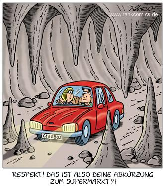 Cartoon: höhle (medium) by pentrick tagged höhle,abkürzung,supermarkt,auto,car,short,cut,cavern,ehepaar,married,couple,frau,mann,woman,man,