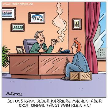 Cartoon: karriere (medium) by pentrick tagged karriere,boss,bewerbung,klein,career,application,small,mann,man,büro,office,