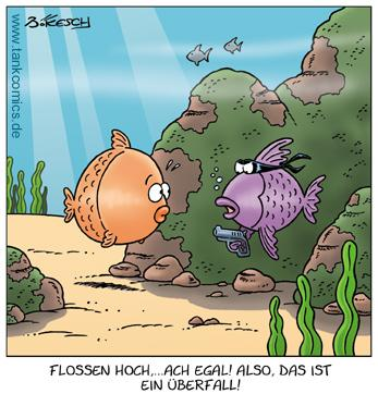 Cartoon: schuppengauner (medium) by pentrick tagged tank,ocean,ozean,meer,cartoon,bökesch,gerd,animals,tiere,holdup,pistole,ganove,überfall,fish,fisch,comics,tankcomics