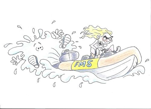 Cartoon: RIB Racer (medium) by andybennett tagged fms,falmouth,marine,school,lecturer,falls,into,the,drink