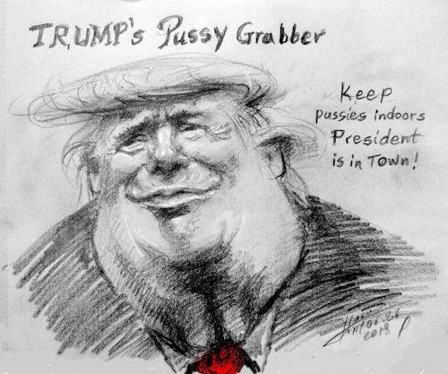 Cartoon: Trump-Pussy Grabber (medium) by yllifinearts tagged pussy,grabber,trump,president,donald