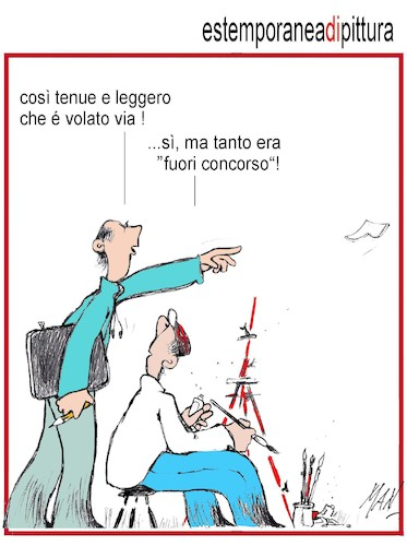 Cartoon: extempore di pittura (medium) by Enzo Maneglia Man tagged vignette,umorismo,grafico,spilli,di,man,enzo,maneglia,fighillearte